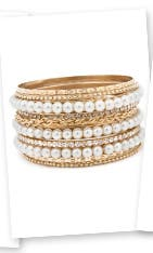 Cara Accessories Pearly Girl Bangle Set