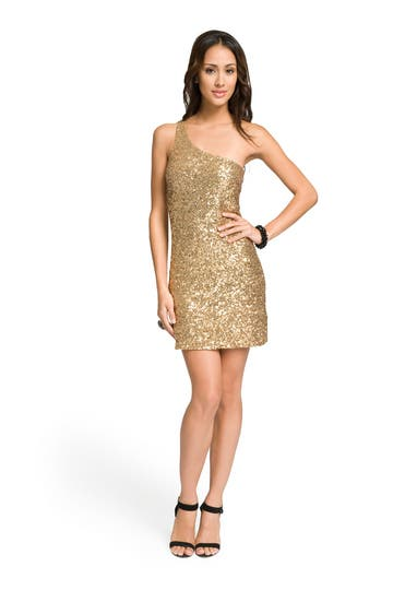 Alice and Olivia Gold One Shoulder Sequin Dress