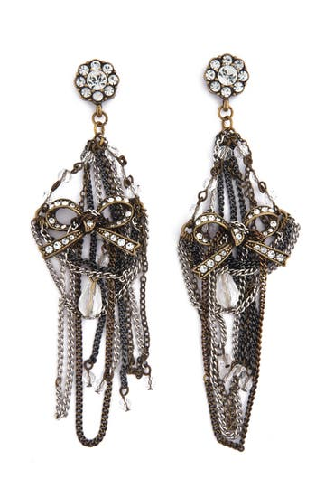 Badgley Mischka Chandelier Bow Earrings Rent the Runwqy