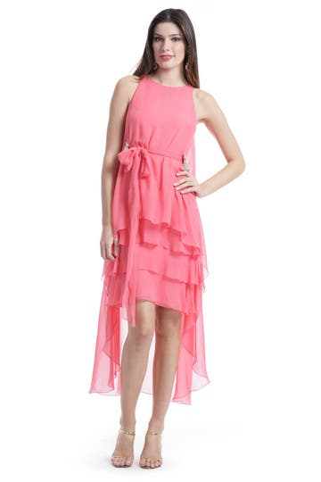 Badgley Mischka Coral Waterfall Dress Rent the Runway