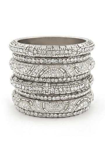 Chamak Silver Glitz Bangle Set Rent the Runway