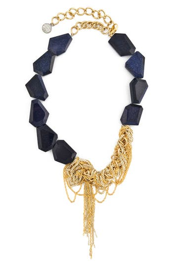 Gemma Redux Blue Goldstone Kathleen Necklace Rent the Runway
