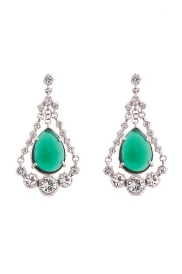 Gerard Yosca Emerald Eye Chandelier Earrings Rent the Runway