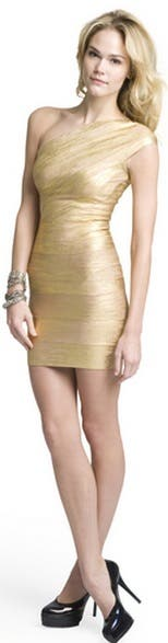 Herve Leger Golden Girl One Shoulder Dress