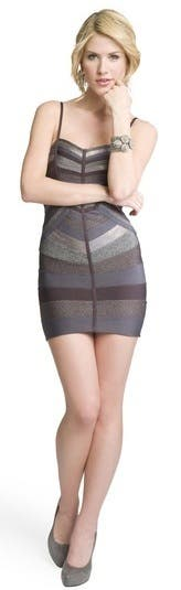Herve Leger Metallic Stripe Bandage Dress