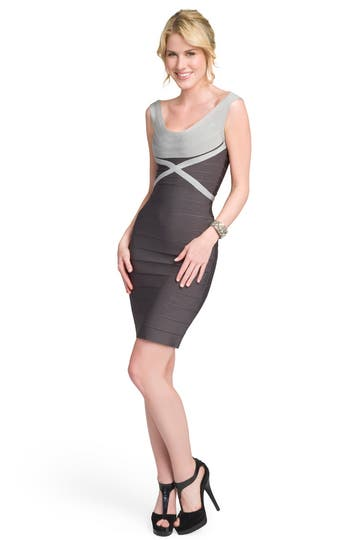 Herve Leger Misty Scoop Sheath Rent the Ruwnay