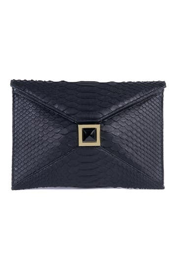 Kara Ross Black Python Clutch Rent the Runway