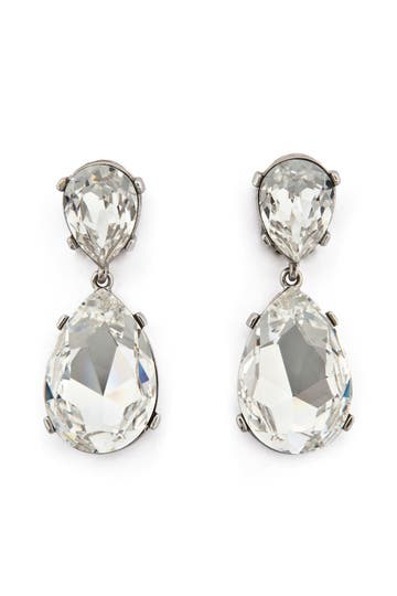 Kenneth Jay Lane Clear Drop Earrings Rent the Runway