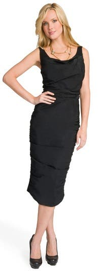 Nina Ricci Noir Draped Belted Dress