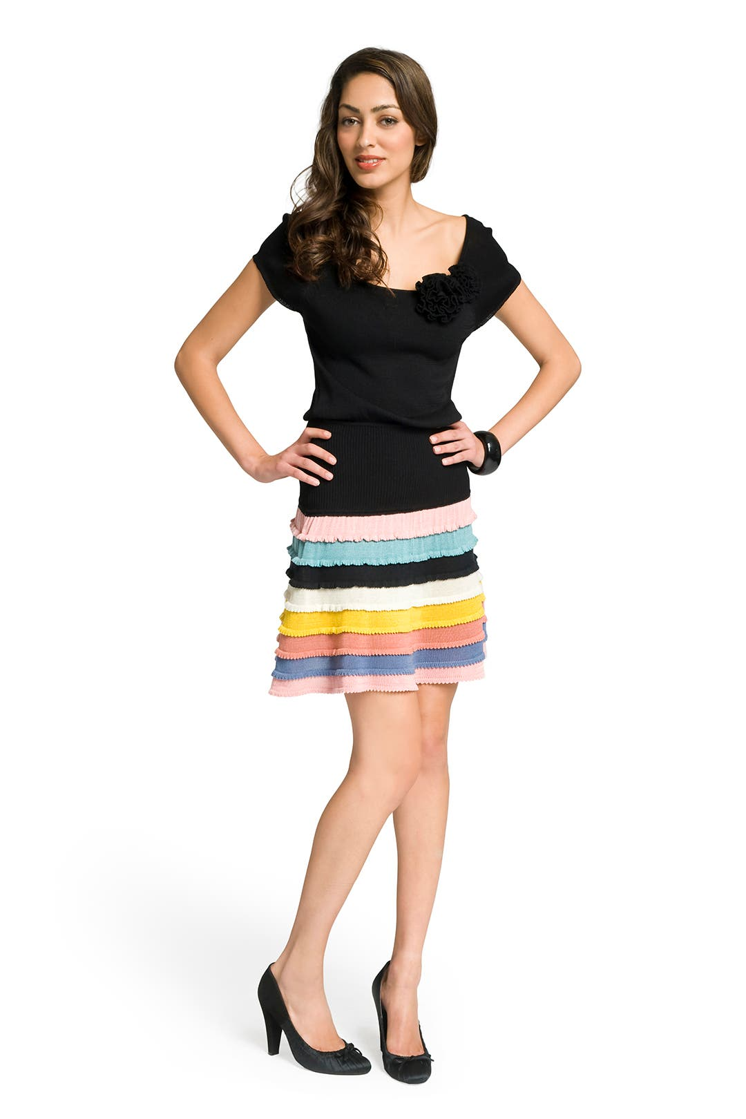 Striped skirt knit dress by Catherine Malandrino
