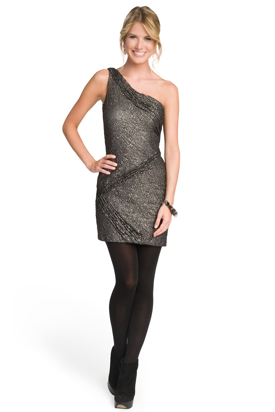 One Shoulder Metallic Lace Dress by Christian Cota