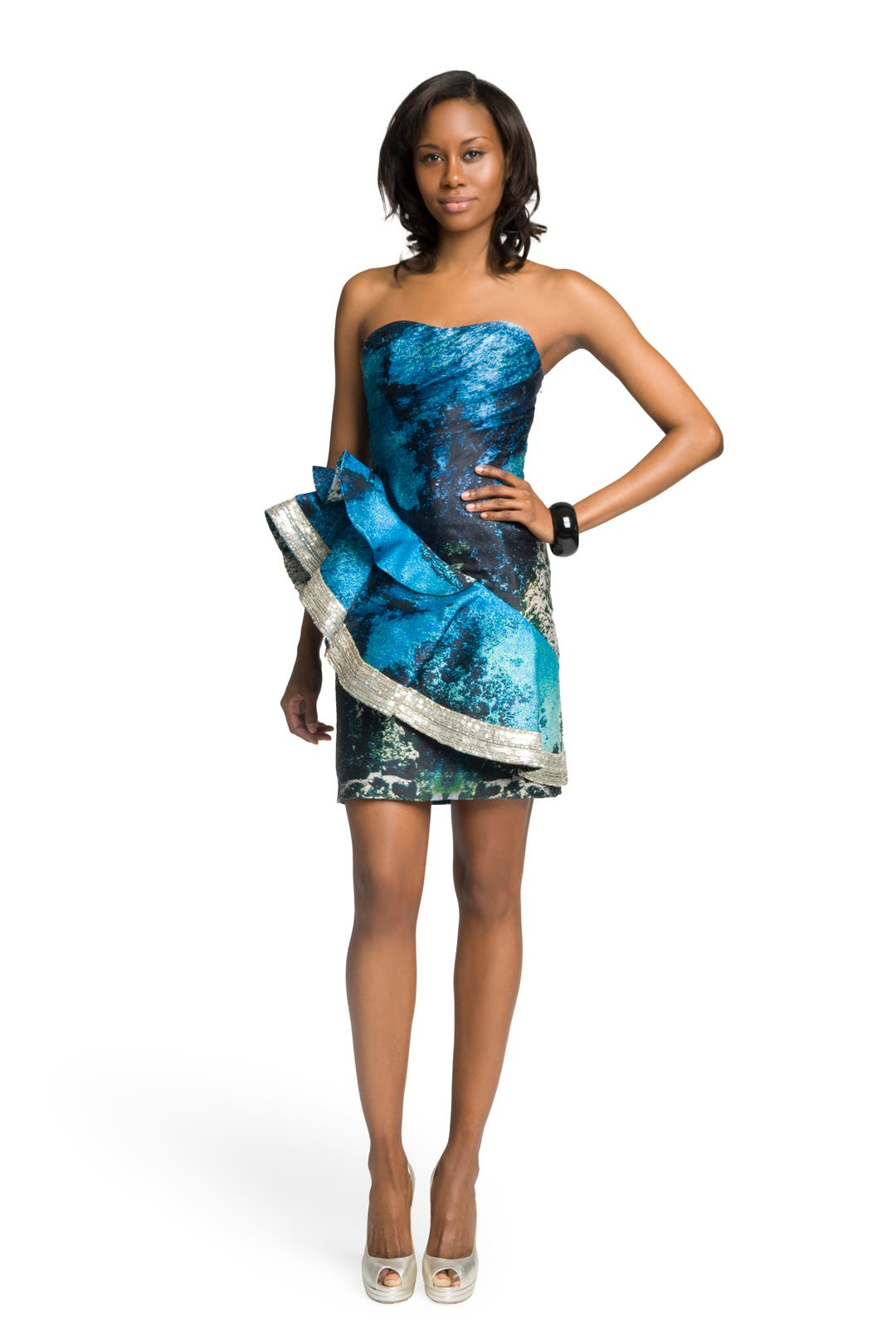 Coastal Print Ruffle Dress by Christian Siriano