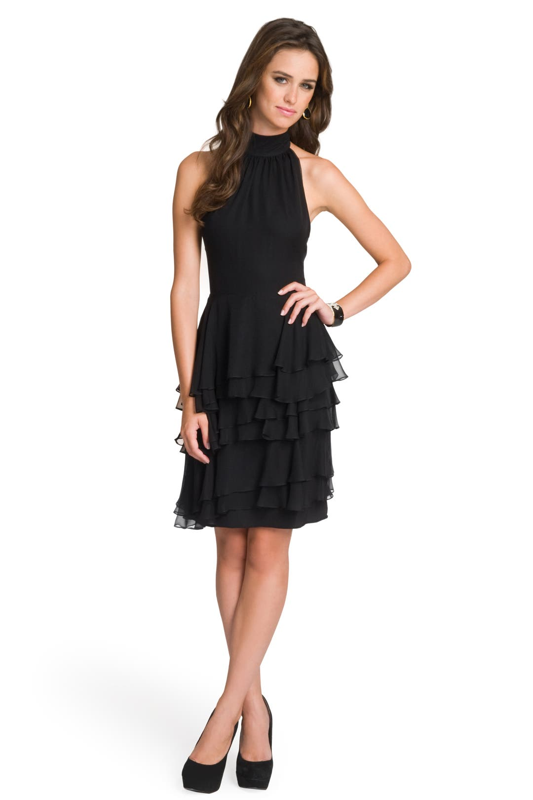 Ruffled Sophisticate Halter Dress by Christian Siriano
