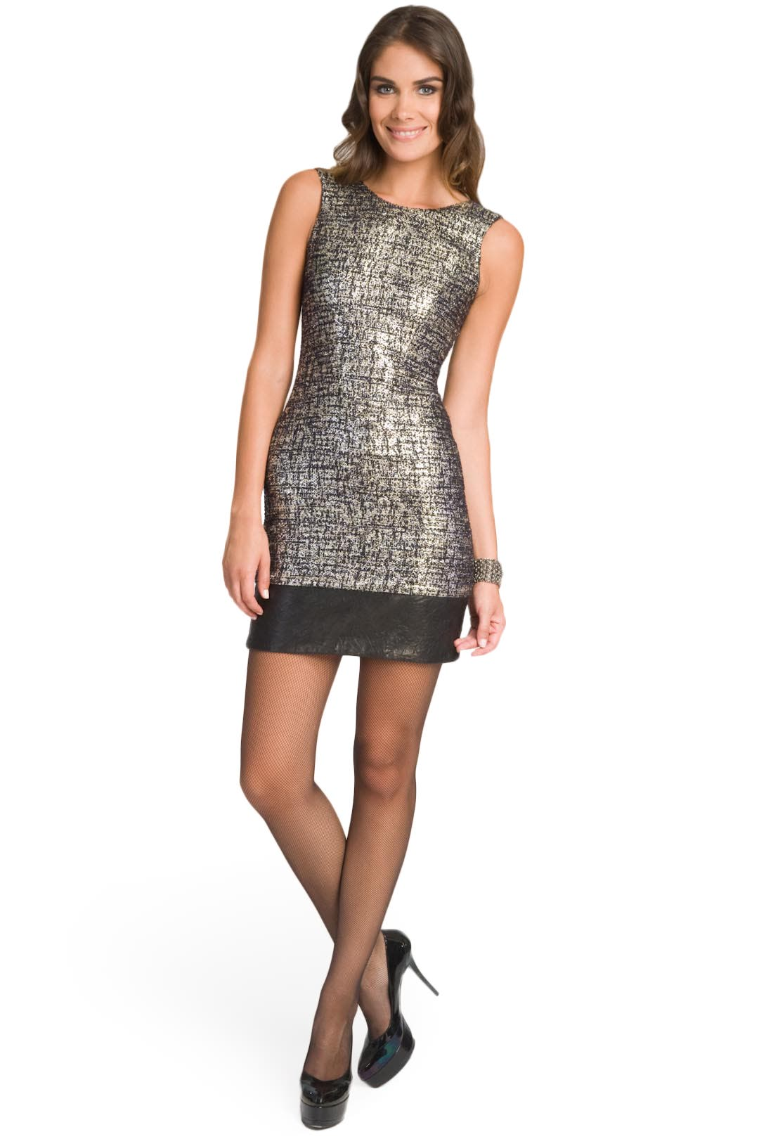 Silver Metallic Tweed Sheath by Christian Siriano