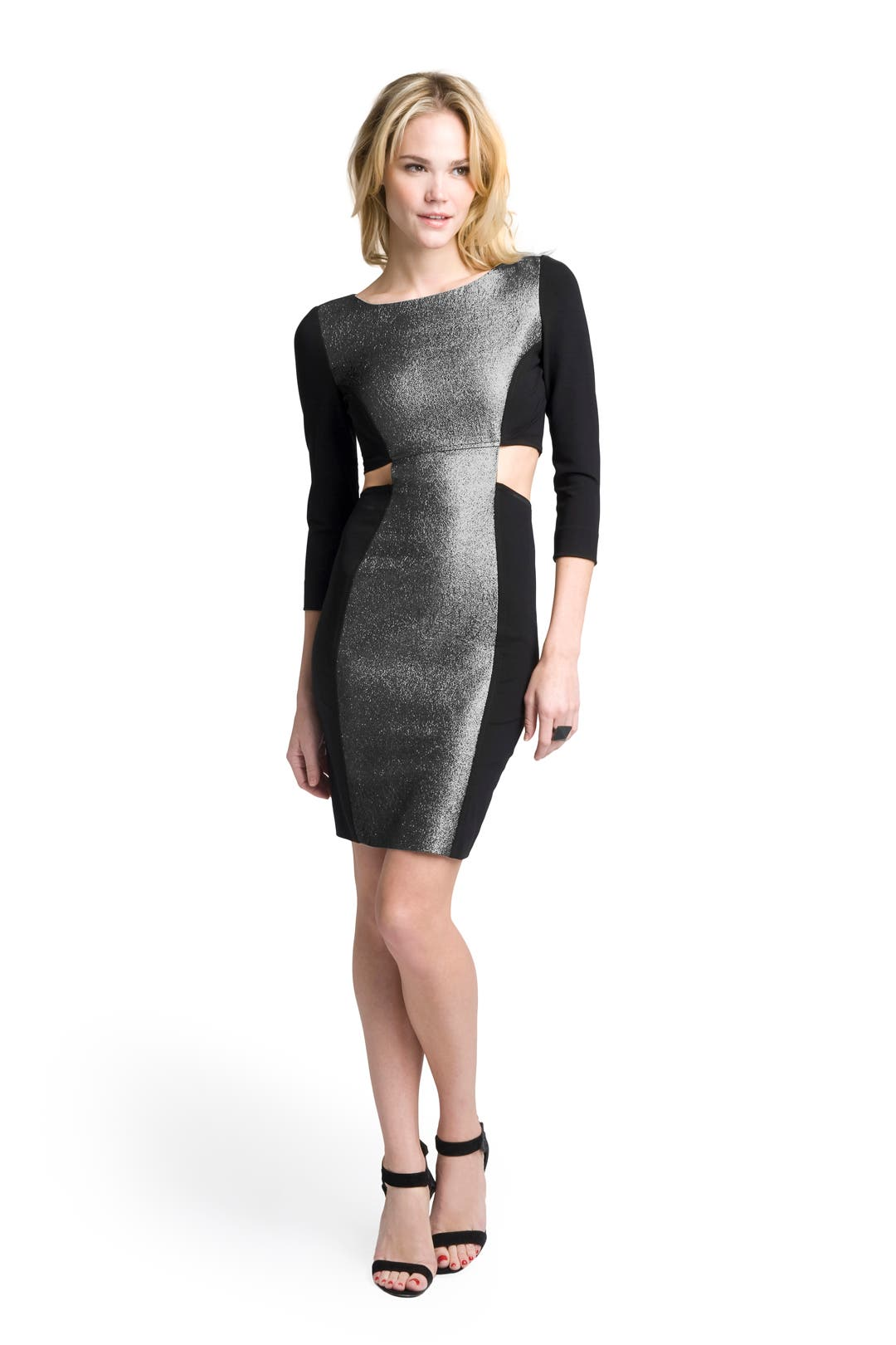 Silver Cut-Out BodyCon Dress by Frank Tell
