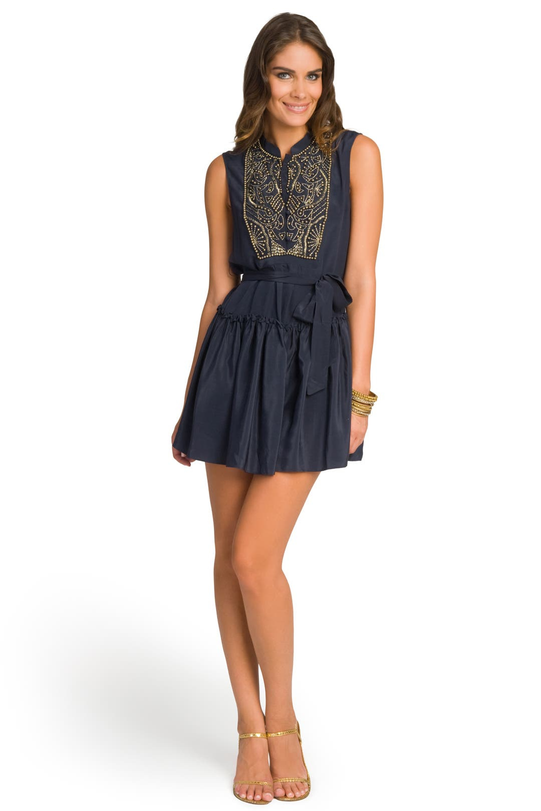 Beaded Bib Flirty Dress by Gryphon