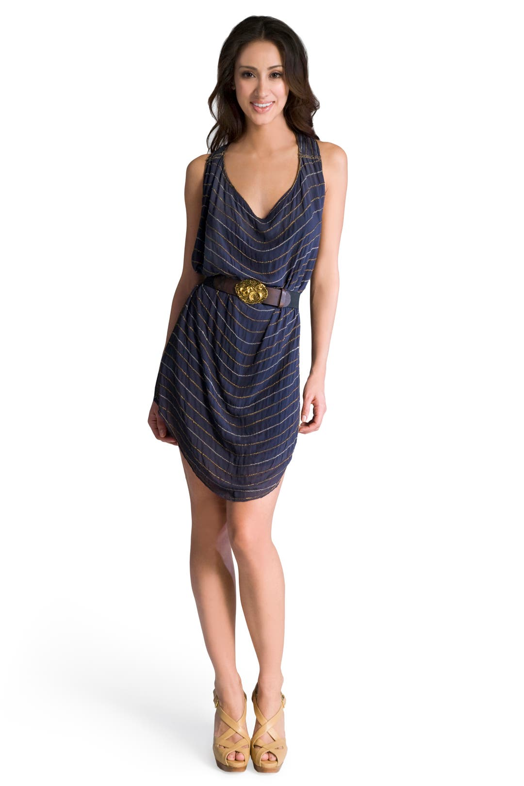 Metal Chain Striped Dress by Gryphon