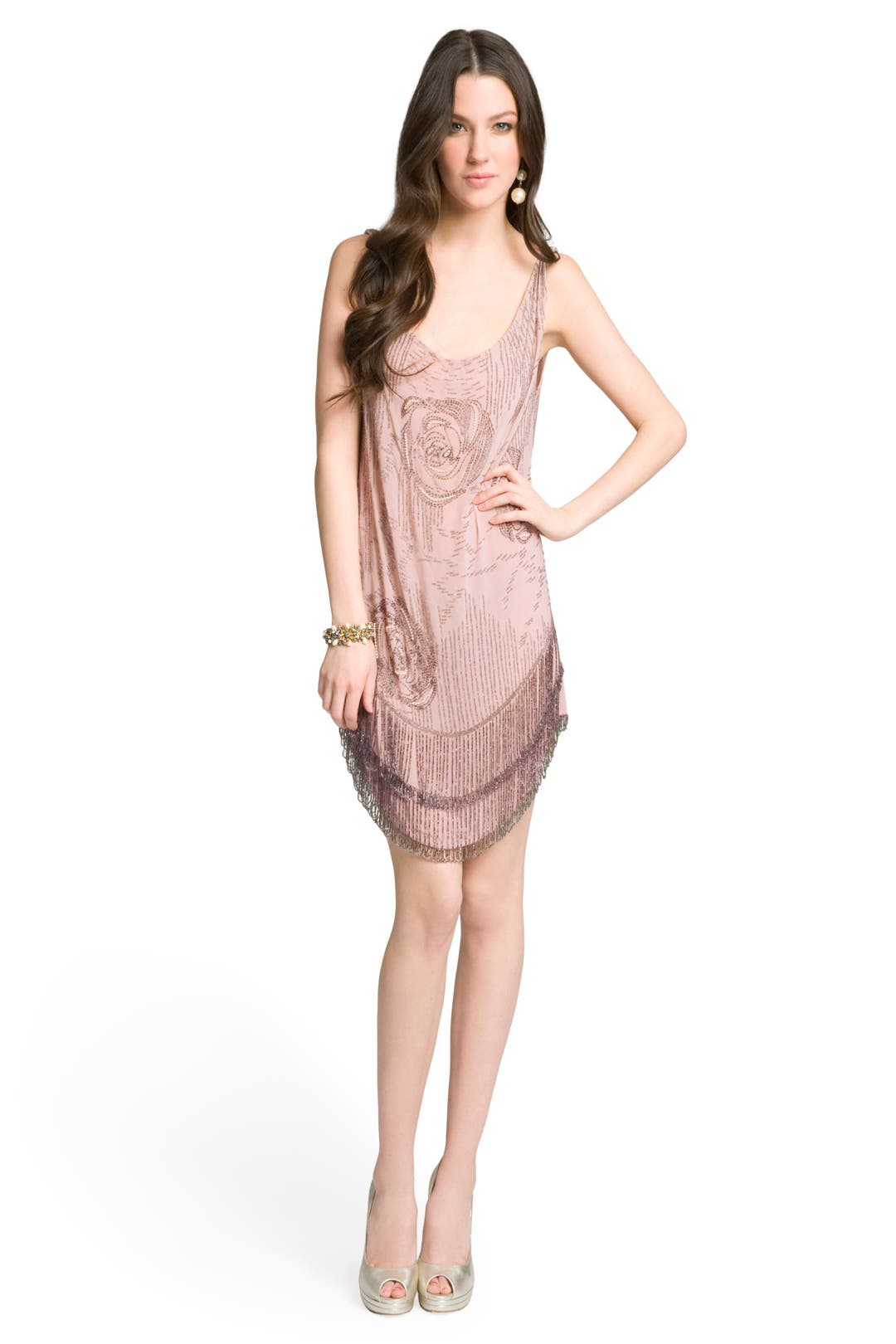 Beaded Fringe Tank Dress by Haute Hippie