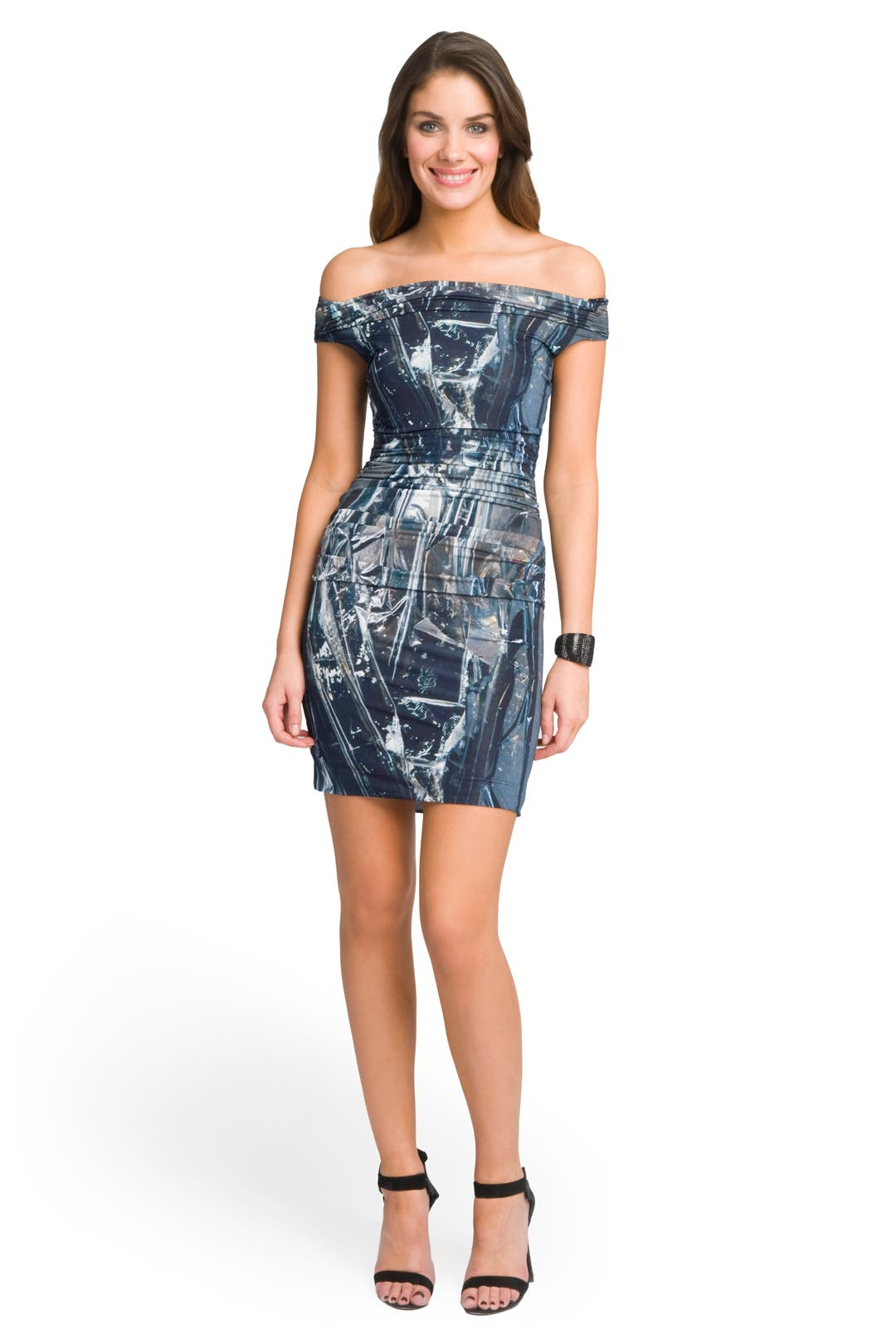 Off-Shoulder Foil Print Dress by Helmut Lang