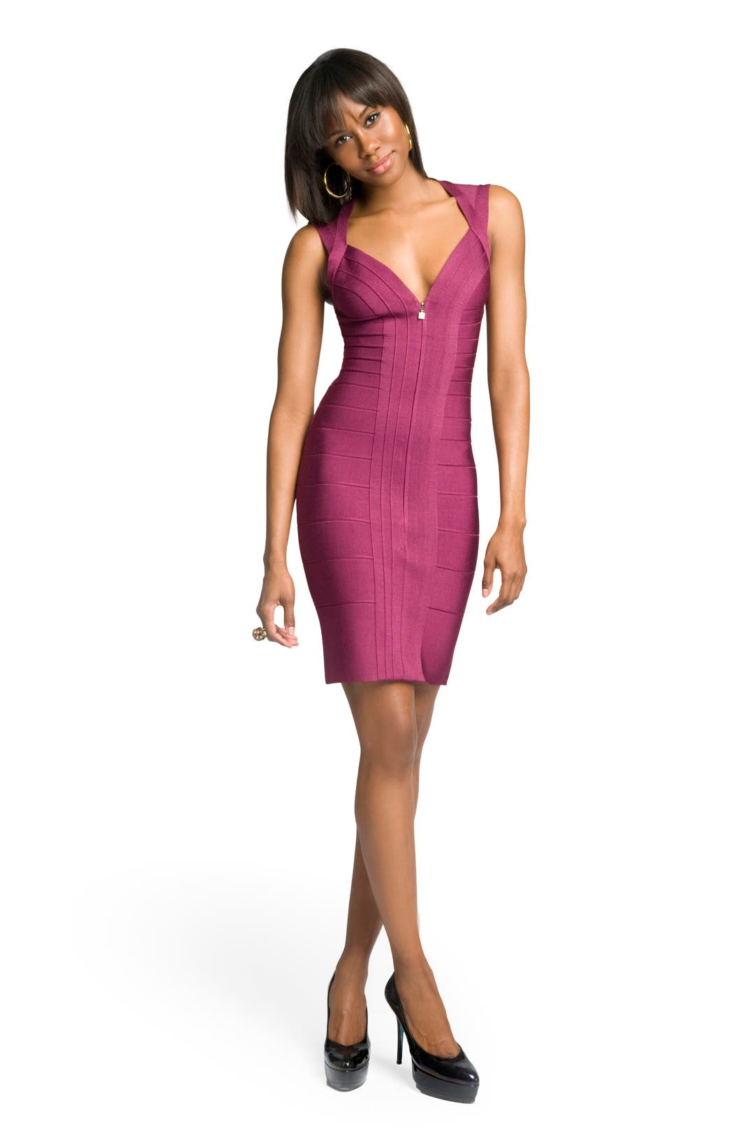 Deep Zipped-up Bandage Dress by Hervé Léger