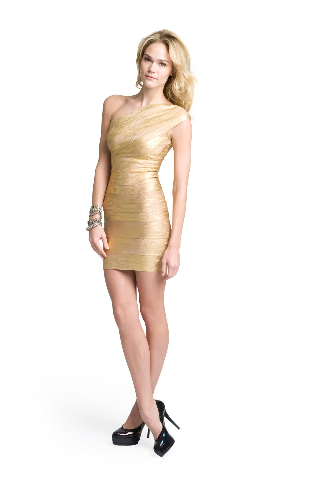 Golden Girl One Shoulder Dress by Hervé L�