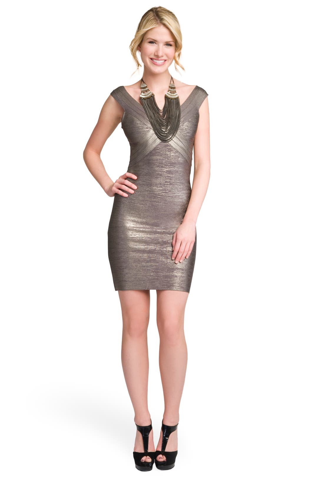 Gunmetal Bandage Dress by Hervé Léger