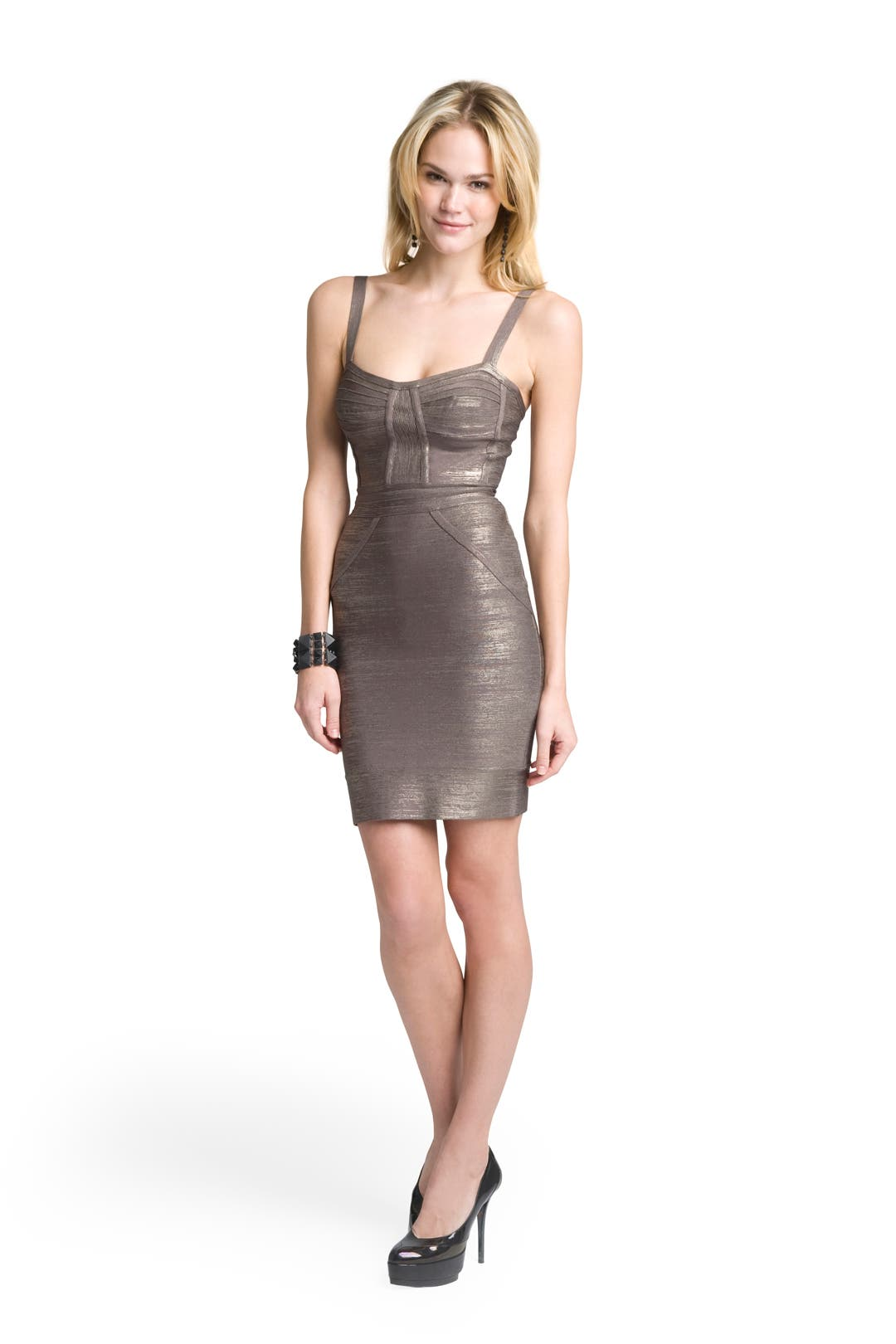Gunmetal Bustier Sheath by Hervé Léger