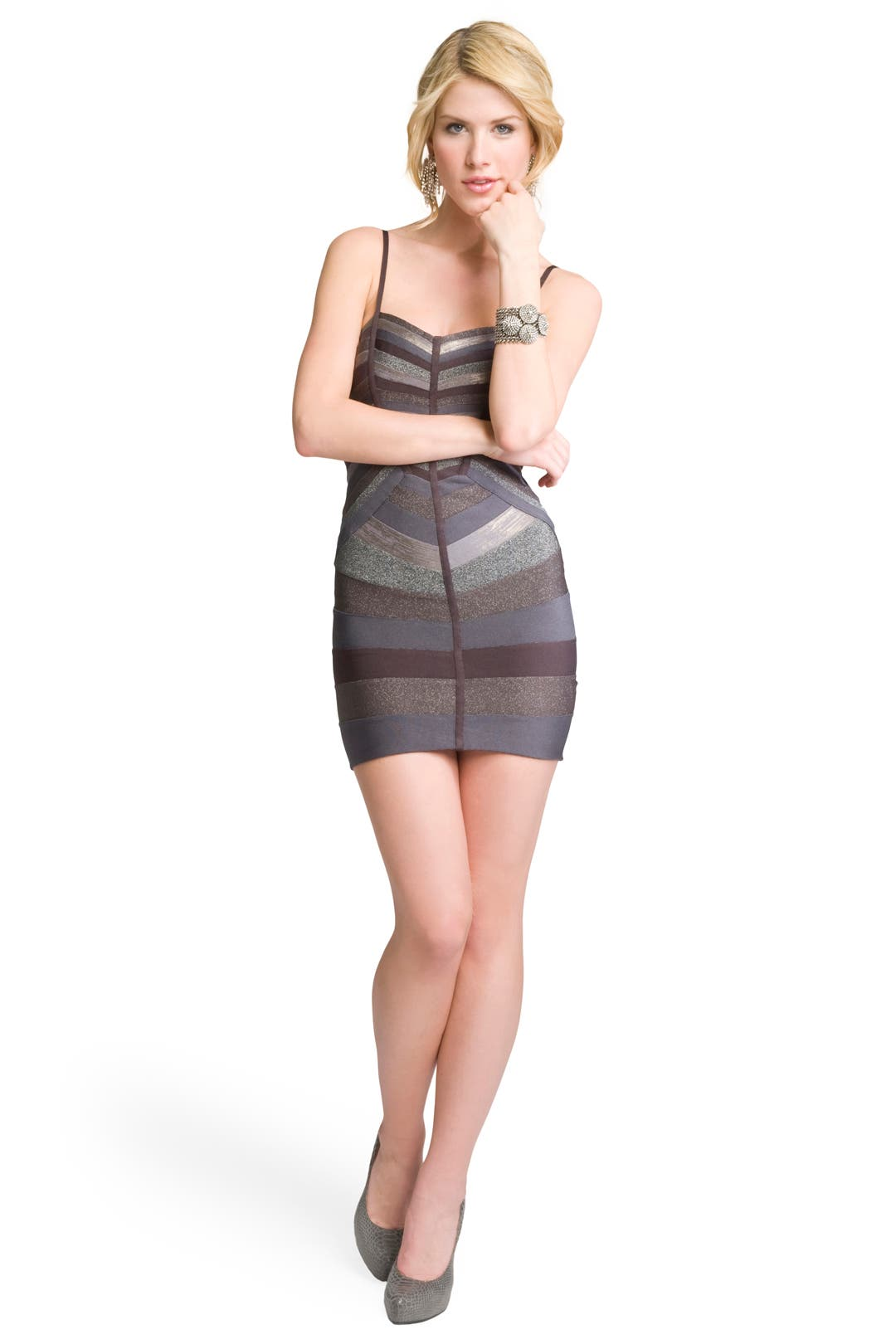 Metallic Striped Bandage Dress by Hervé Léger