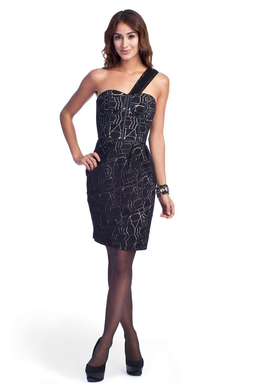 Shattered Lace Dress by Lela Rose