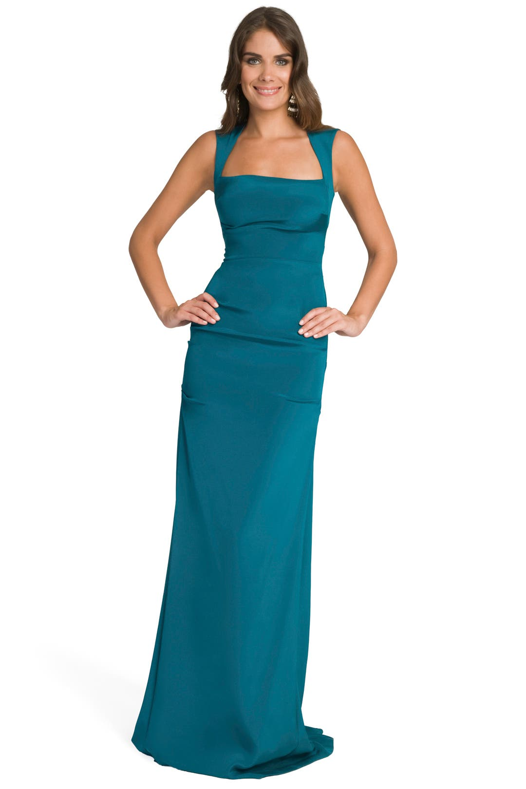 Teal Open Back Gown by Nicole Miller