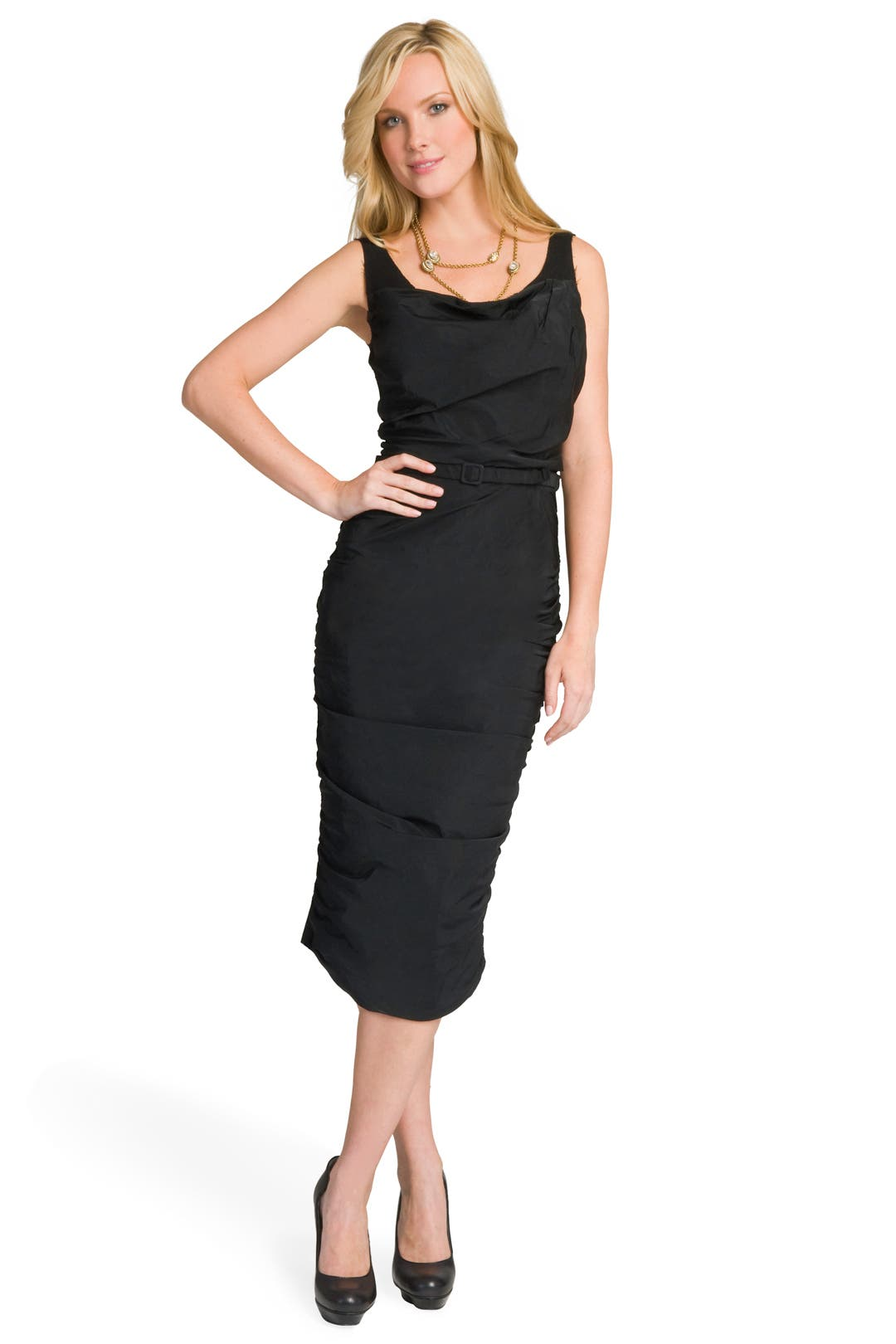 Noir Draped Belted Dress by Nina Ricci