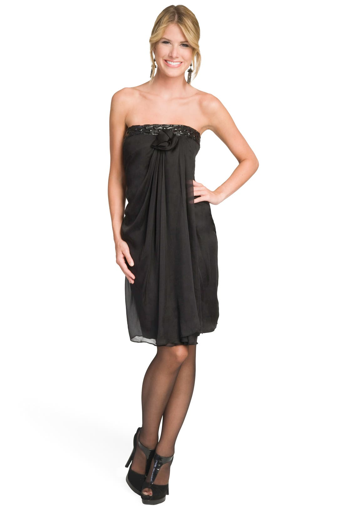 Leather Band Strapless Dress by Philosophy Di Alberta Ferretti