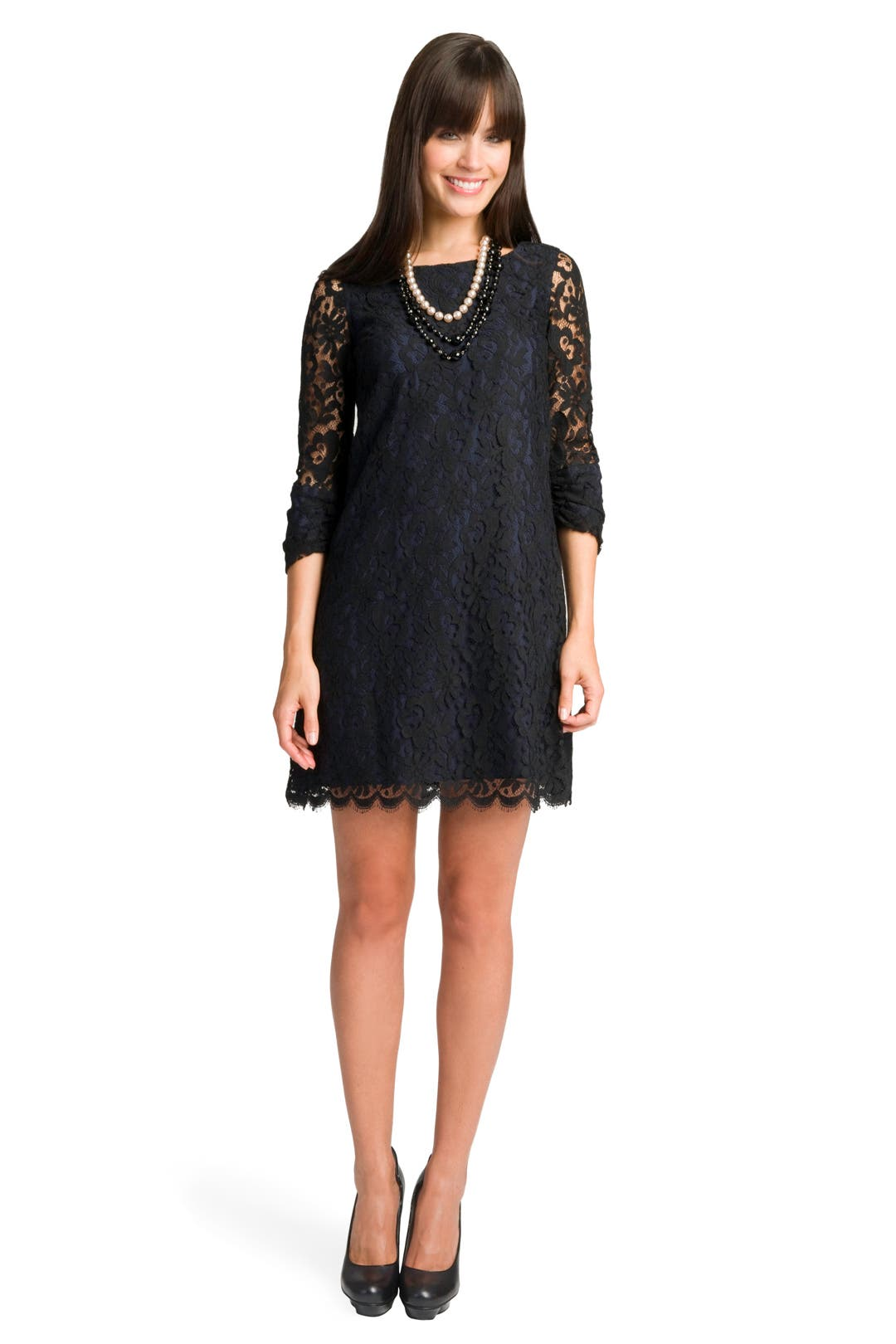 Lace Boatneck Back Dress by Shoshanna