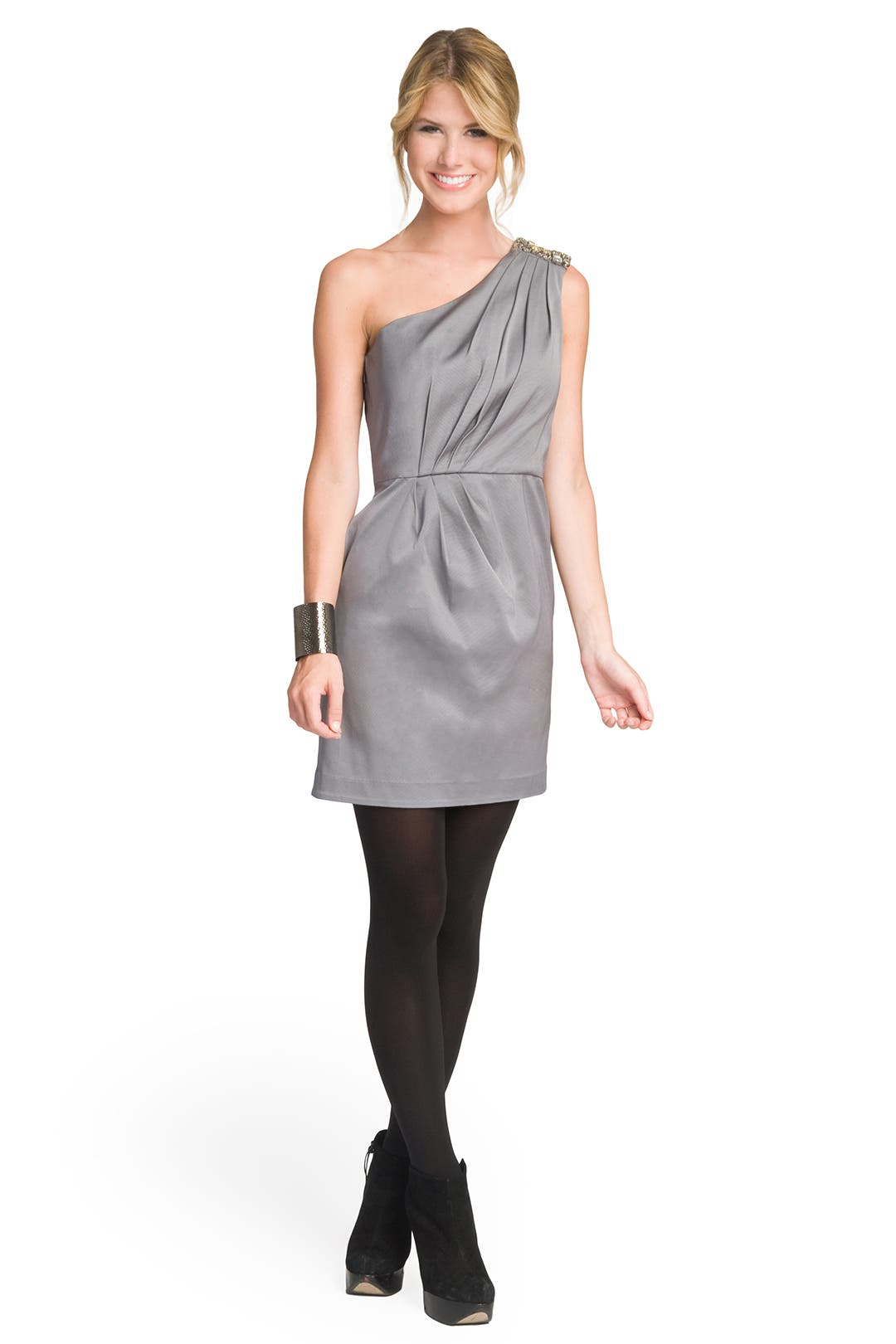 Silver Sensation One Shoulder Dress by Shoshanna