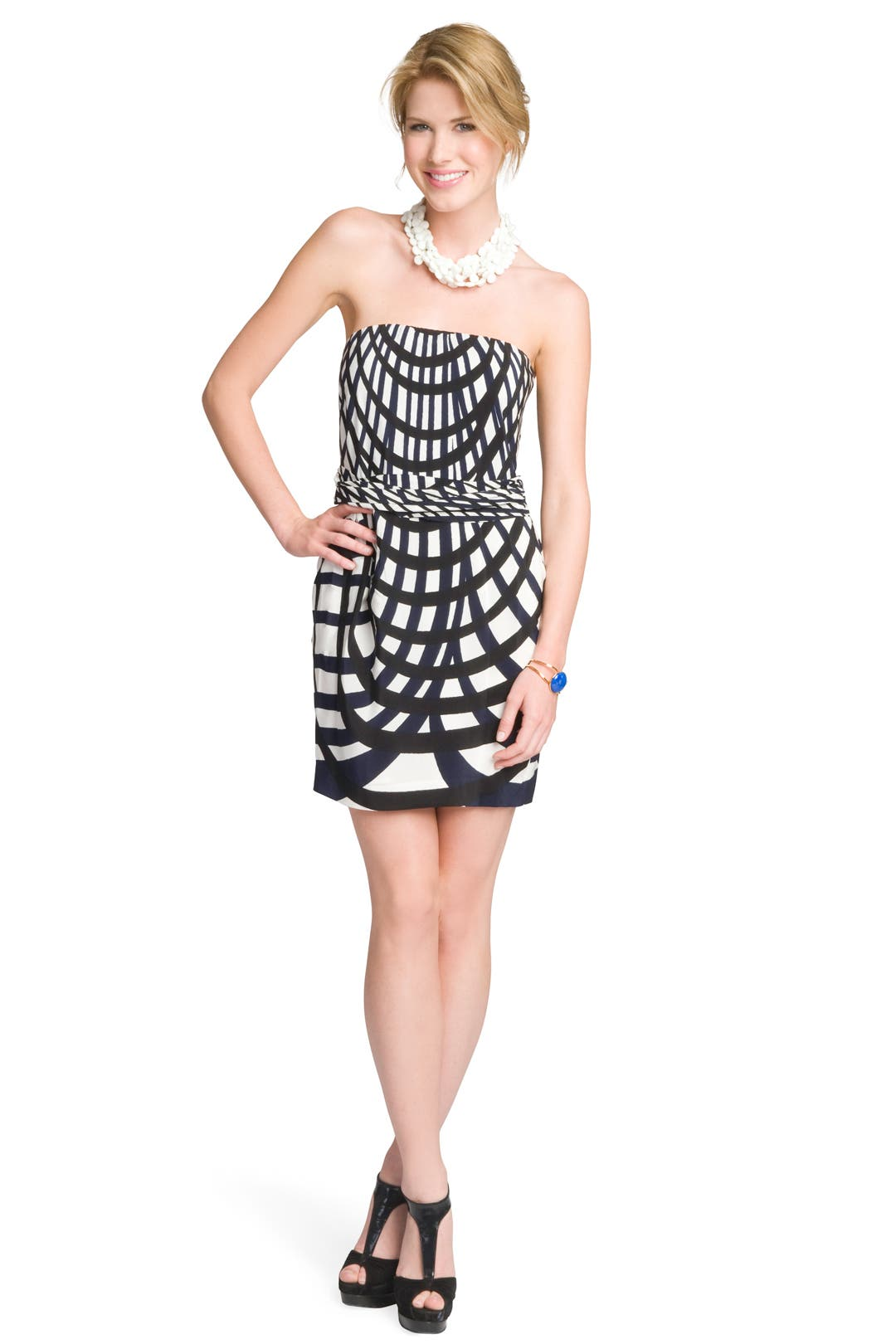 Abstract Grid Print Dress by theory