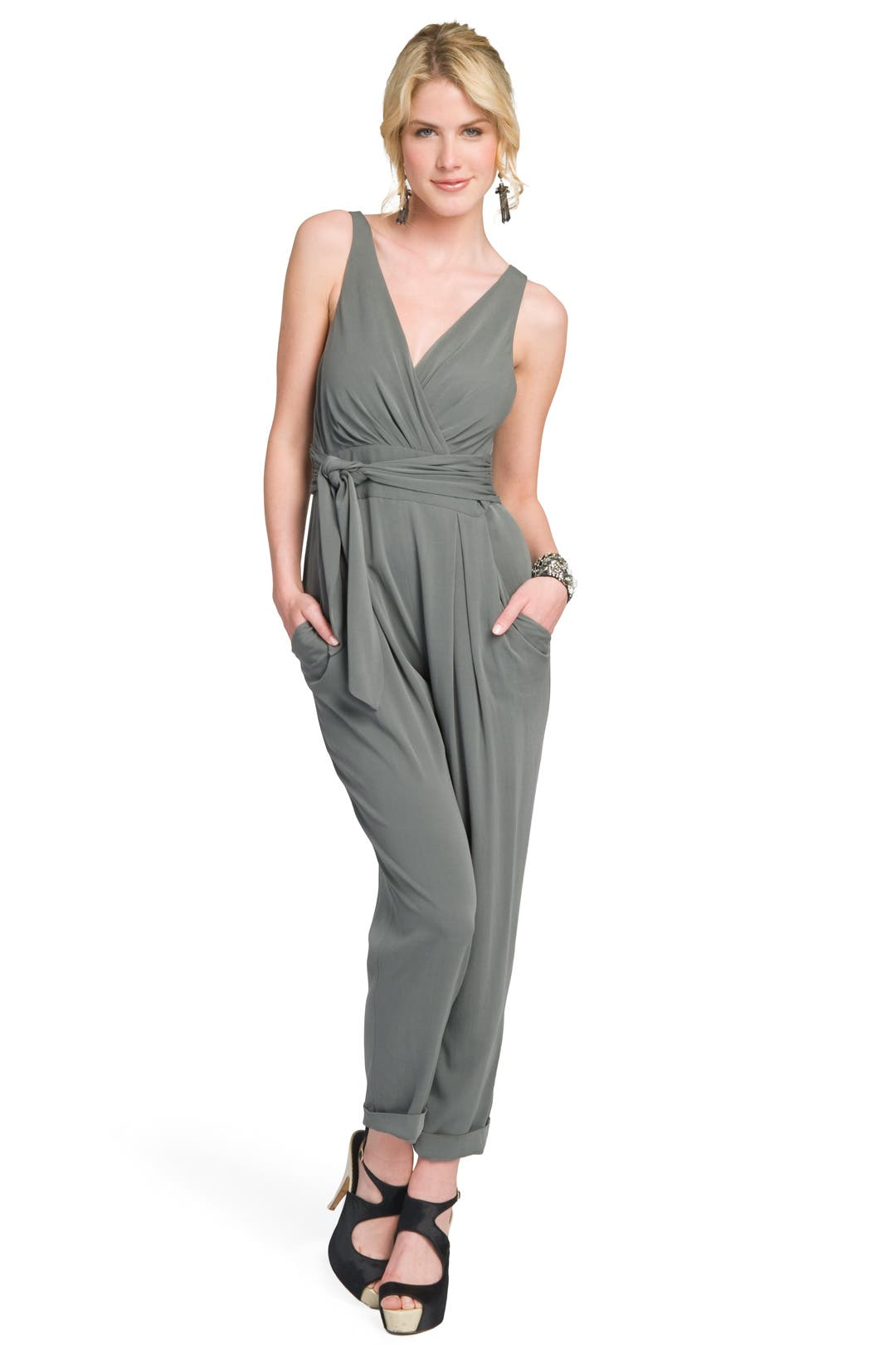 Surplice Belted Jumpsuit by theory