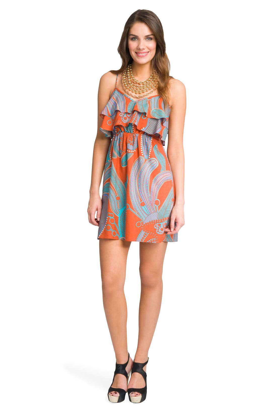 Vintage Printed Ruffle Dress by Tibi