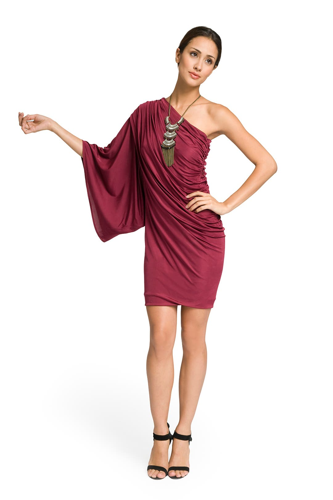 Burgundy One shoulder draped dress by Yigal Azrouël