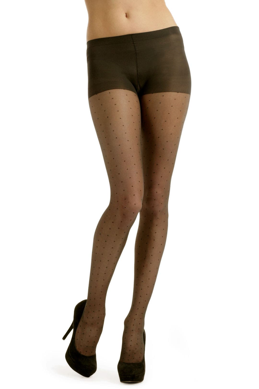 Black Sheer Tulle Dot Tights With Control Top by Hue