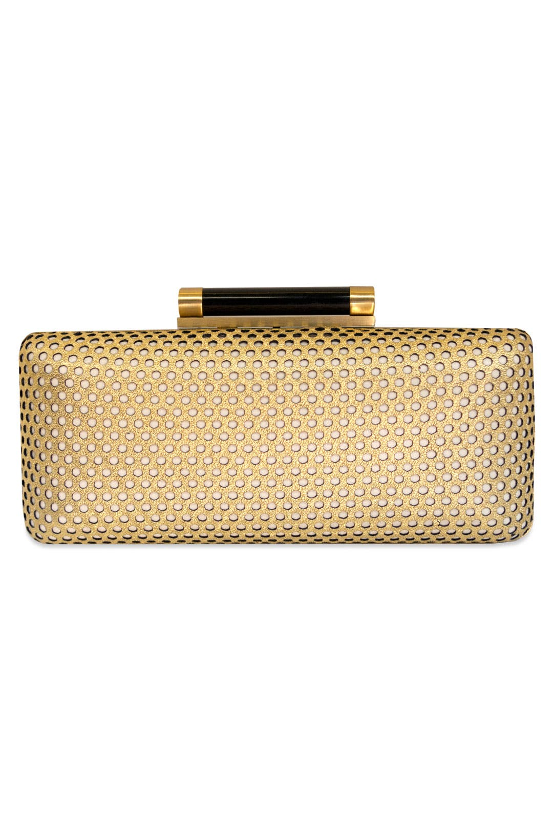 Gold Boombox Clutch by Diane von Furstenberg Handbags