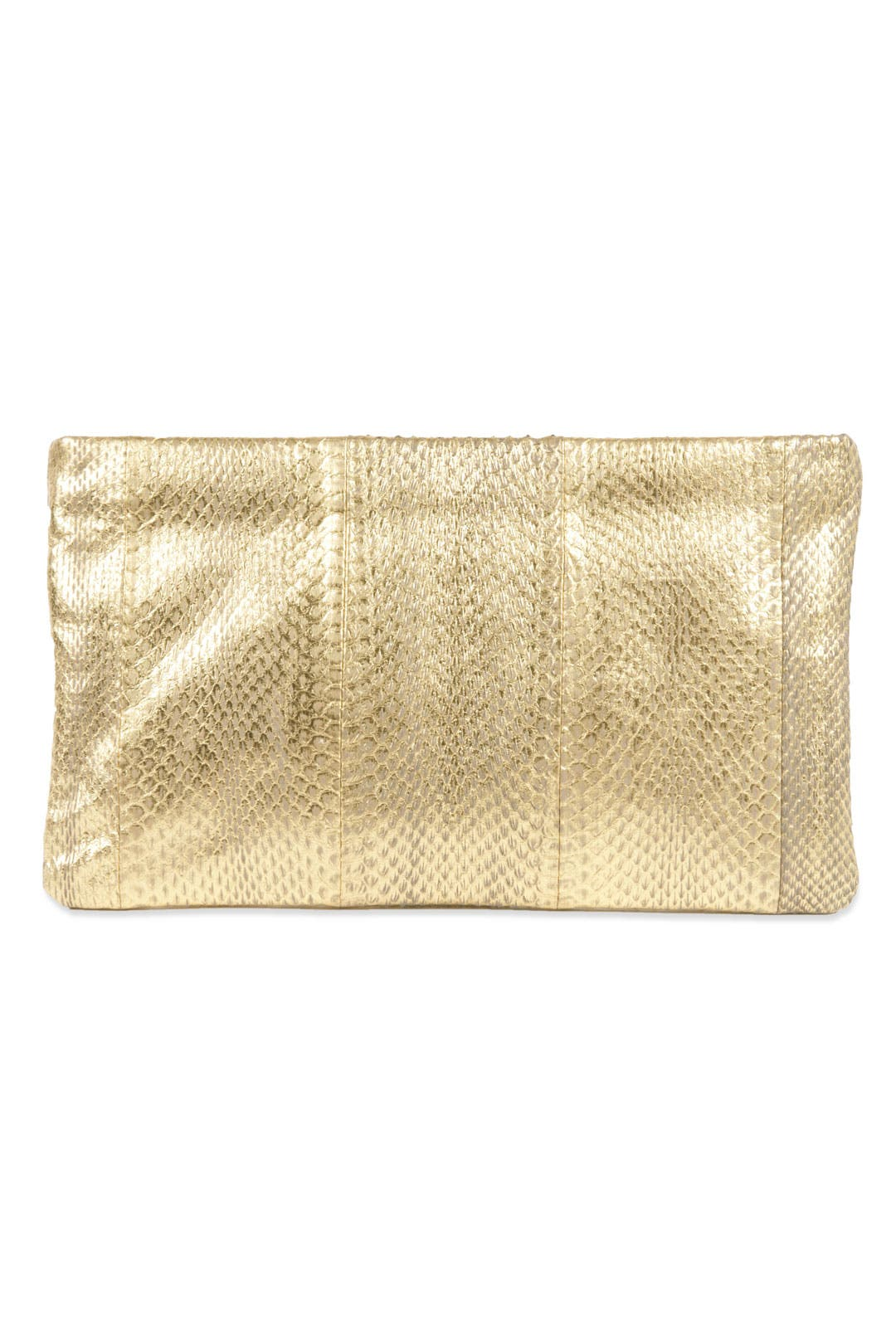 Gold Zip Me Up Clutch by Felix Rey