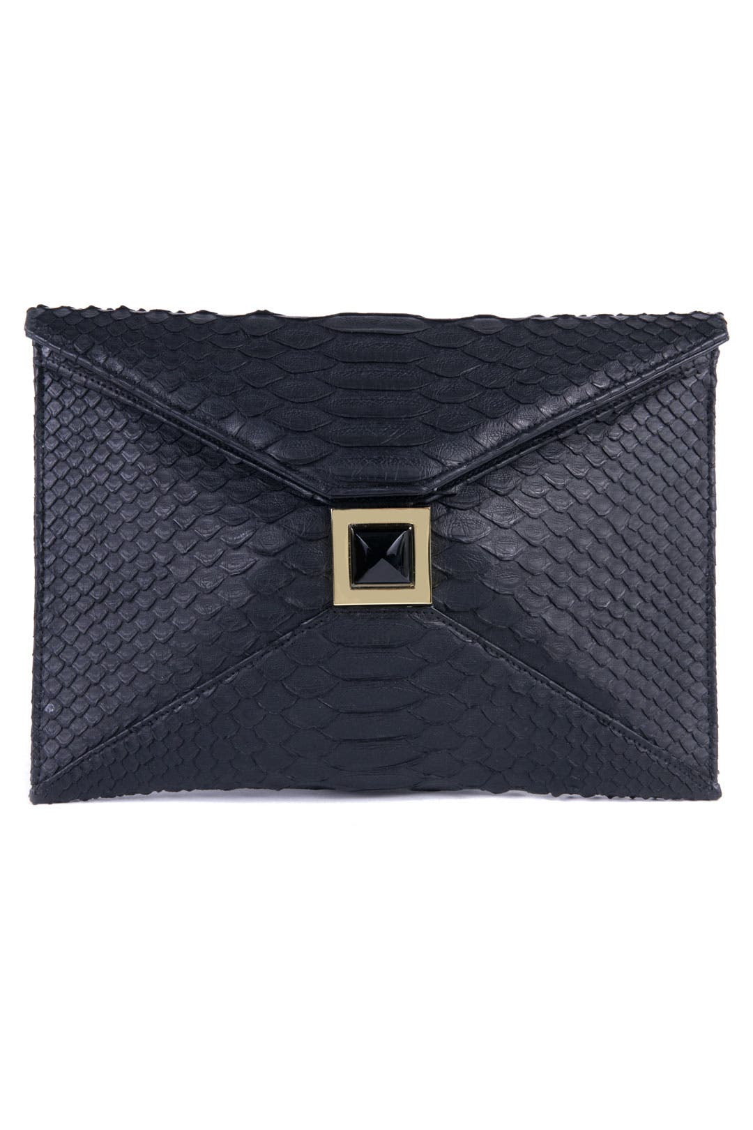 Black Python Clutch by Kara Ross