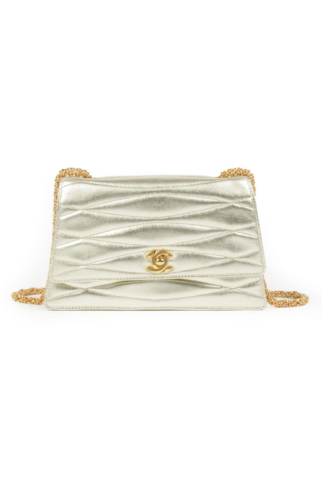 Vintage Chanel Gold Wave Mademoiselle Bag by WGACA Vintage