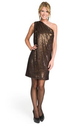 Badgley Mischka - One Shoulder Sequin Sack Dress