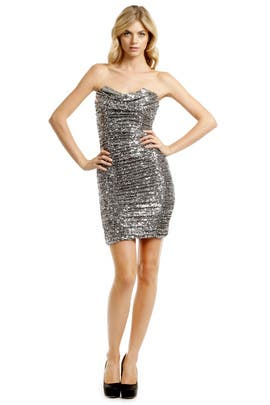 Badgley Mischka - Silver Sequin Cocktail Dress