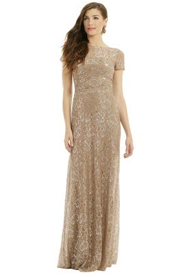 David Meister - Lurex Dusted Lace Gown