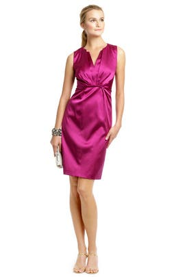 Elie Tahari - Raspberry Satin Twist Dress
