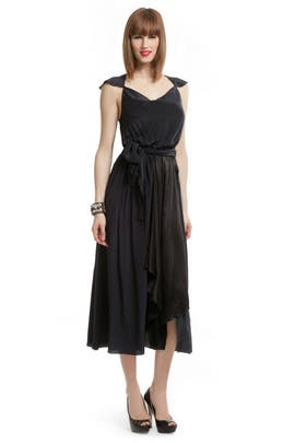 Gryphon - Navy Silk Wrap Dress