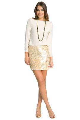 Haute Hippie - Glam Nude Sequin Skirt