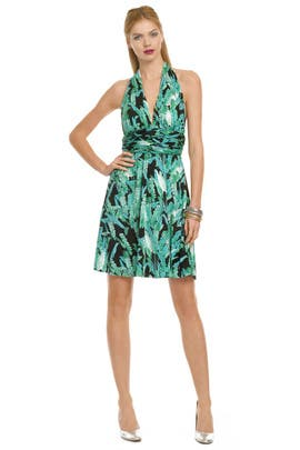 Issa - Palm Print Halter Dress